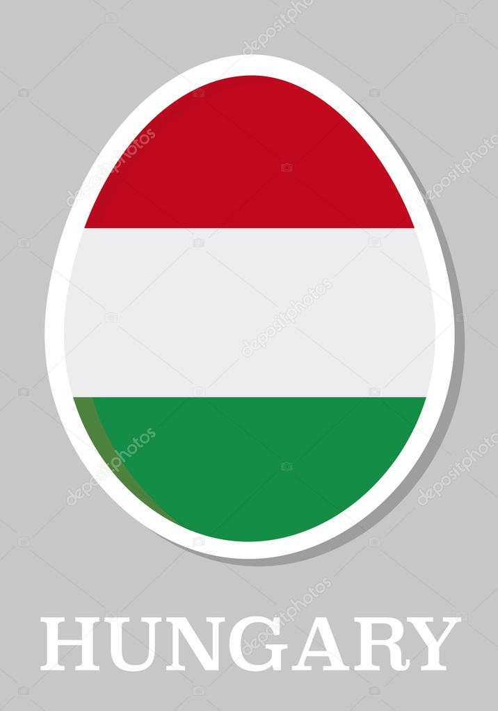 Sticker flag of hungary in form of easter egg stock vector