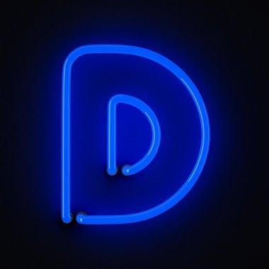 Neon letter D blue on black stock vector
