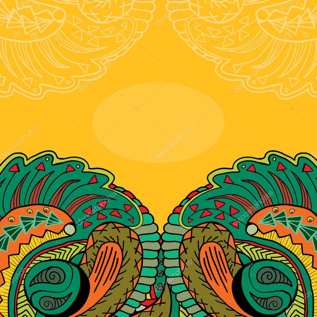 Ethnic ornament orange card template