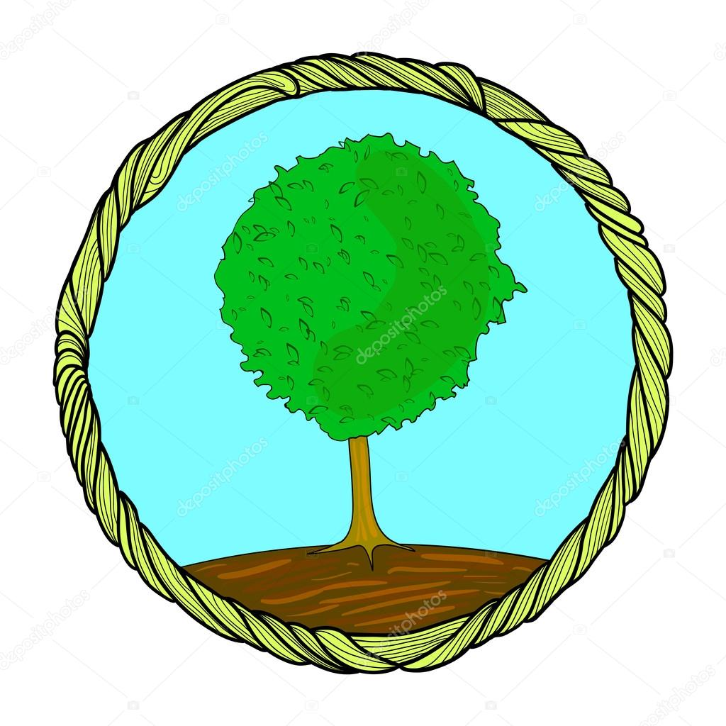 Tree in a round frame