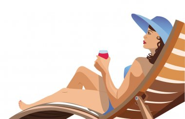 girl lying in a deck chair and drinking wine