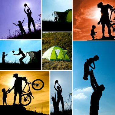 Family camping collage. Set of pictures with child and parents outdoor activities. Active healthy family concept stock vector