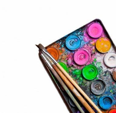 Used water-color paint-box and paint brushes