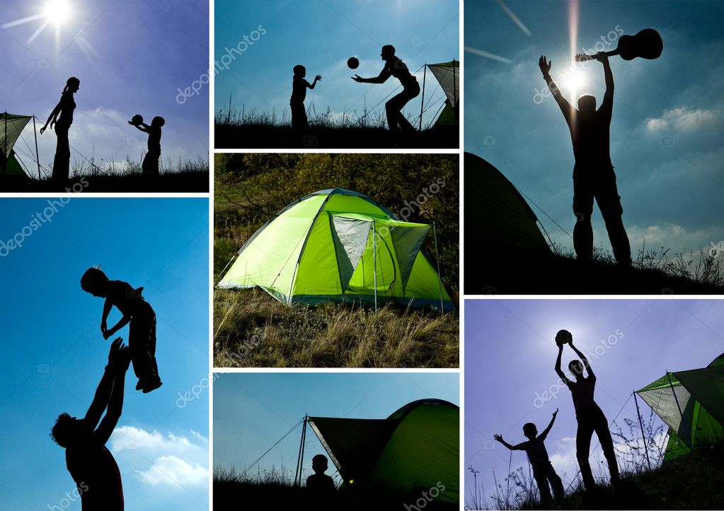 Family camping collage