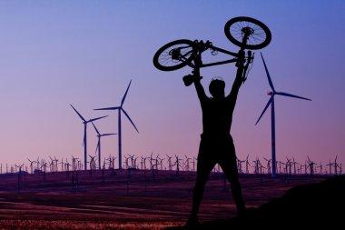 Wind turbine and a man