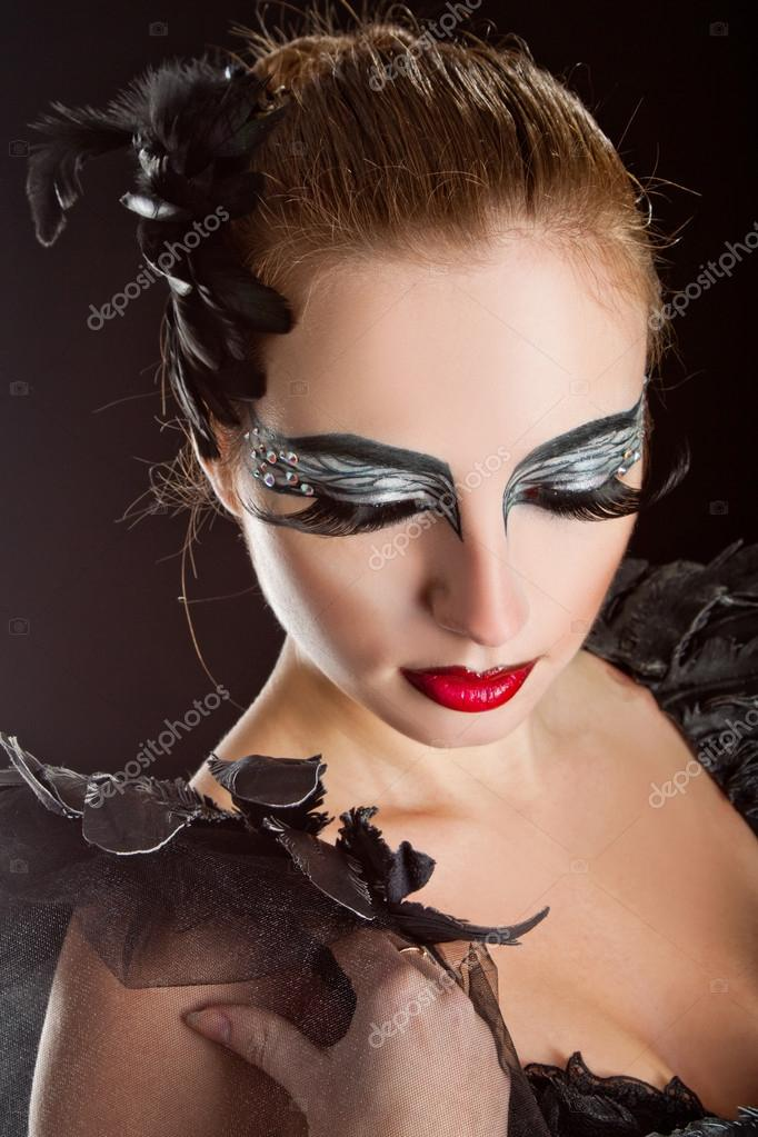 Fashion Art Girl Portrait Vivid Makeup Stock Photo
