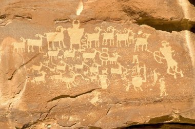 Hunter's Panel - Indian Petroglyph located in Nine Mile Canyon i