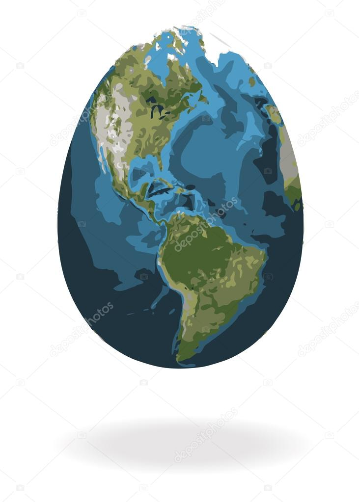 Easter egg with world map