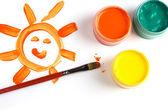 Fotografie dětské kresby a barvy