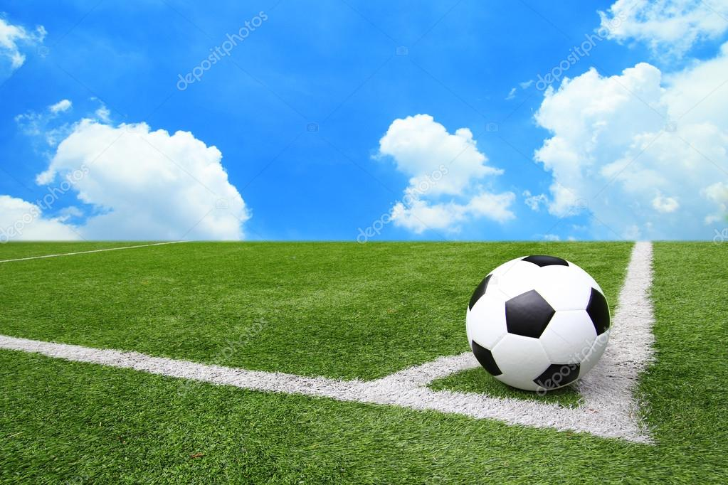 grass football field background. football and soccer field grass stadium blue sky background u2014 stock photo 32008103