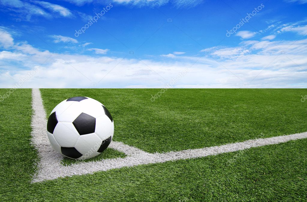 Soccer Football On Green Field With Blue Sky Background: Soccer Football Field Stadium Grass Line Blue Sky
