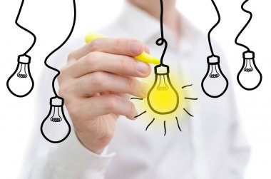 Idea light bulb word sketched on a white board stock vector