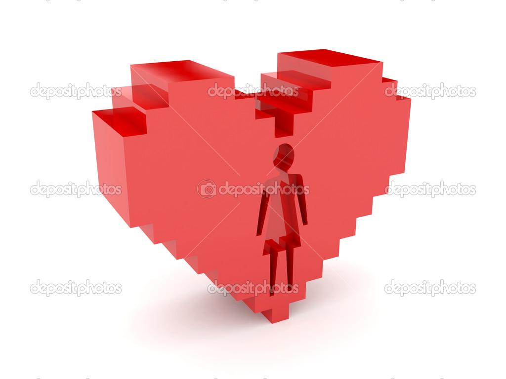 3D heart  Female figure cutout inside  Concept illustration