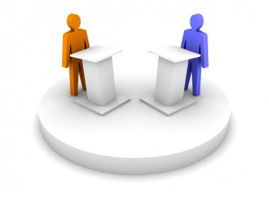Debate. Speaking from a tribune, confrontation.