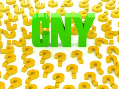 CNY sign surrounded by question marks. Concept 3D illustration.