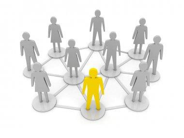 People connections. Unique, leadership. Concept 3D illustration