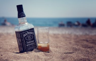 Bottle of Jack Daniel's and glass