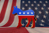 Photo Democrat Party Symbol on an American Flag Background