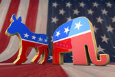 Photo Democrat Party and Republican Party Symbol on an American Flag Background