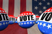 Photo Vote Badges on an American Flag Background