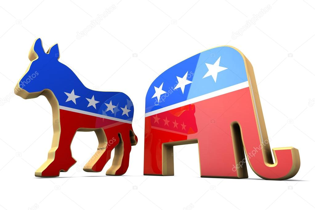 Isolated Democrat Party And Republican Party Symbols Stock Photo