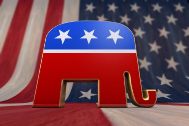 Republican Party Symbol on an American Flag Background