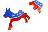 Photo Isolated Democrat Symbol Kicks Republican Symbol