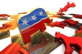 Photo Republican Symbol Attacks Democrat Symbol on a Chess Board