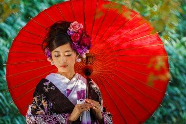 Japanese Bride in at Korakuen Garden in Okayama