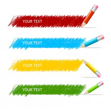 Vector colorful text box and pencils stock vector