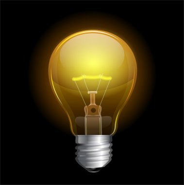 Vector Light bulb isolated on black