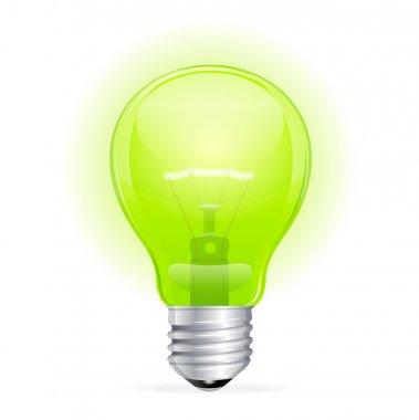 Vector green light bulb isolated on white