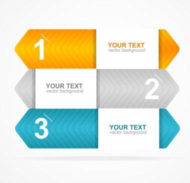 Vector colorful text box 1,2,3 concept