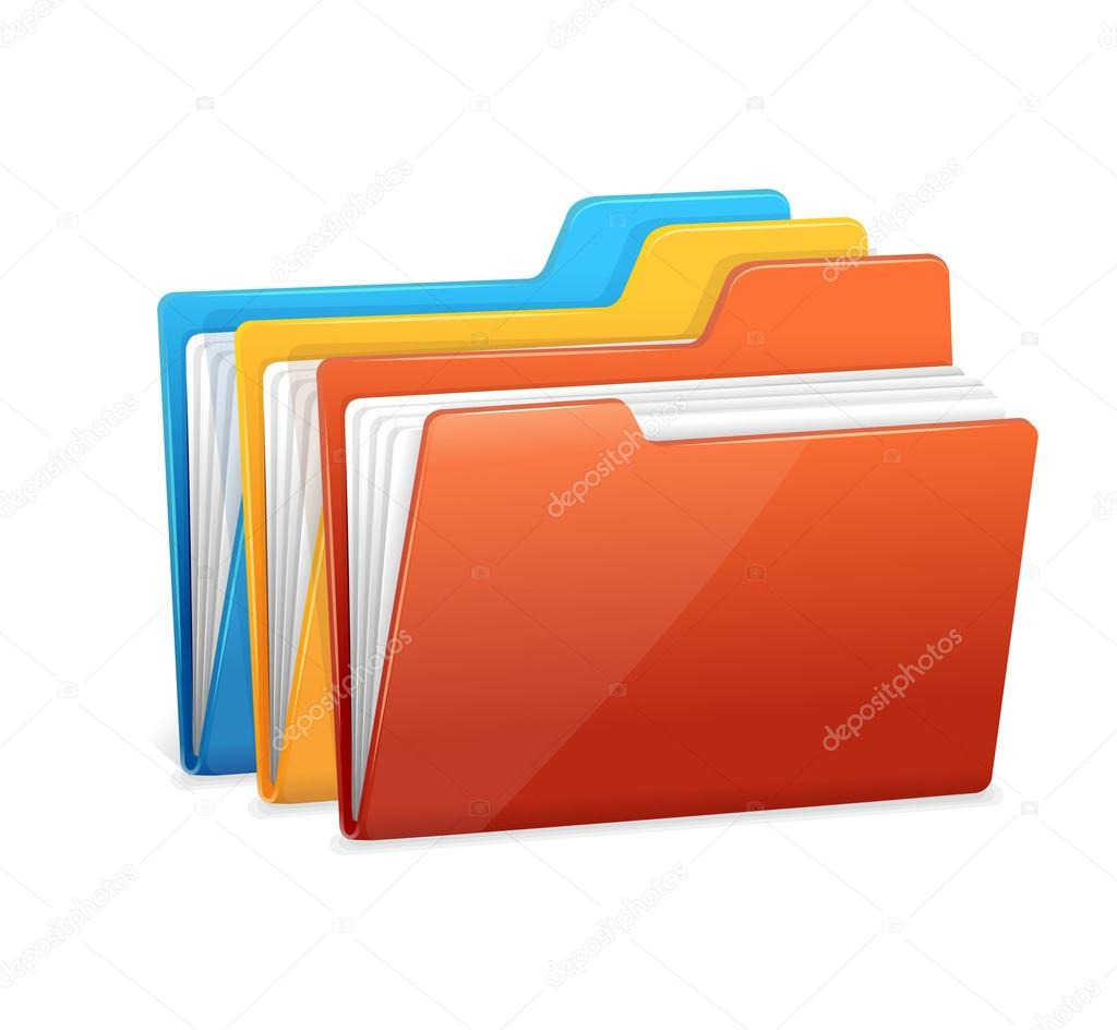Three folders with paper