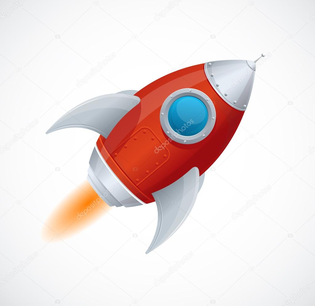 Cartone animato comico razzo nave spaziale u vettoriali stock