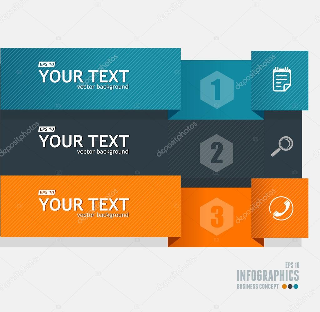 Vector text boxes, infographics options banner