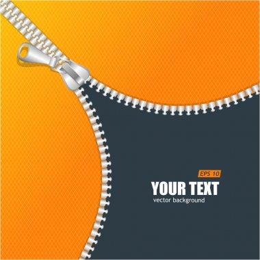 Vector realistic zipper and orange space