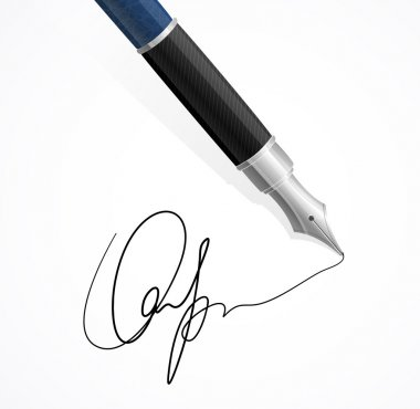 Vector Close up of a fountain pens and signature