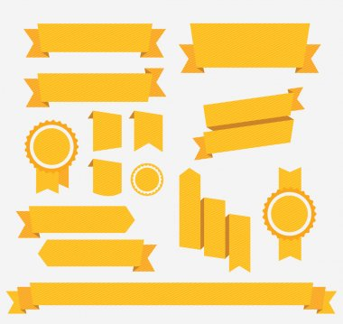 Vector Yellow retro ribbons set. Elements