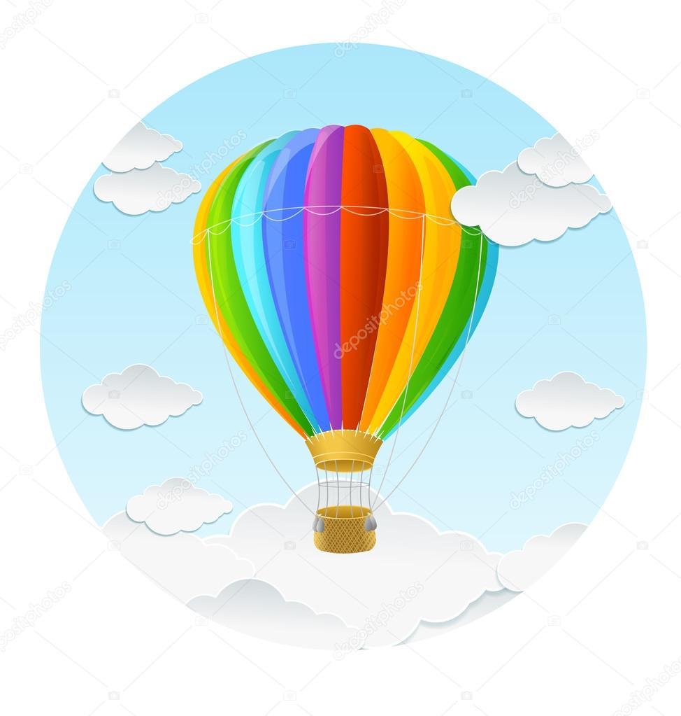 Векторная Радуга воздушных шарах и облака. — Векторное ...