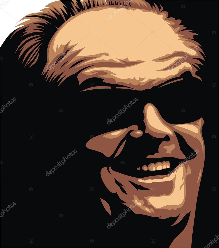 Jack Nicolson - my original caricature in the easy colors stock vector
