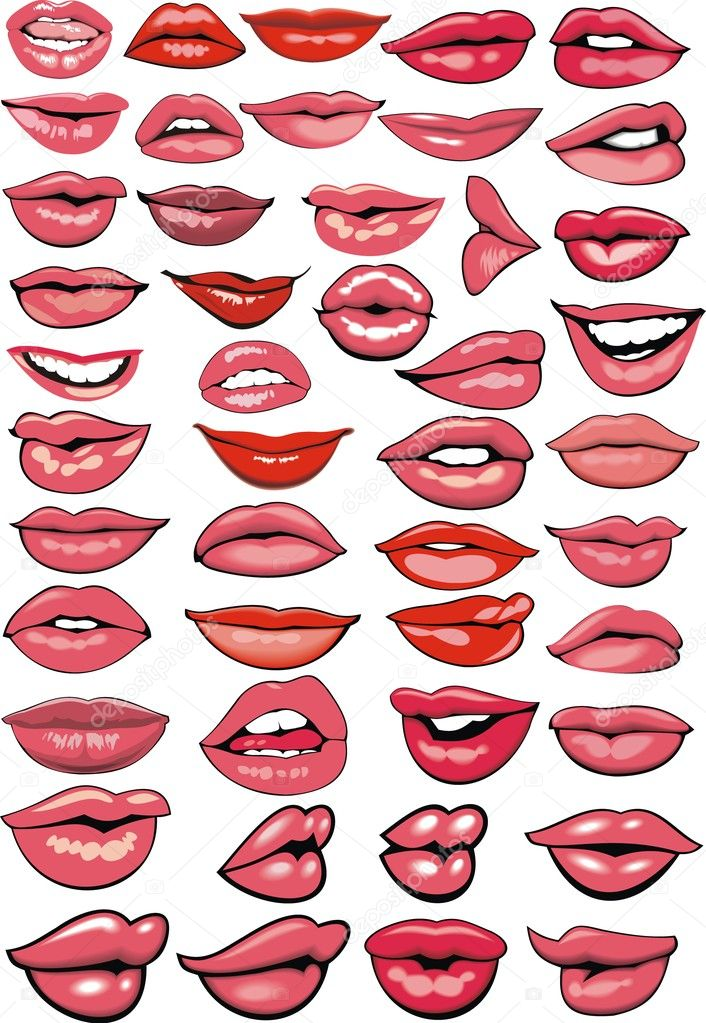 different red lips isolated on the white background