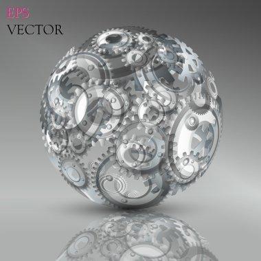 Abstract hollow sphere, cogwheel