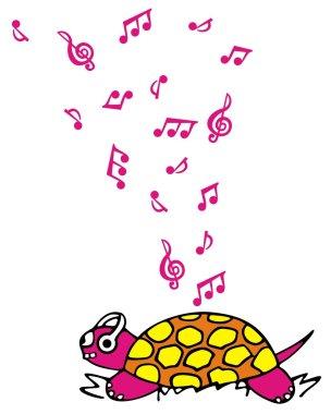 Turtle listening music
