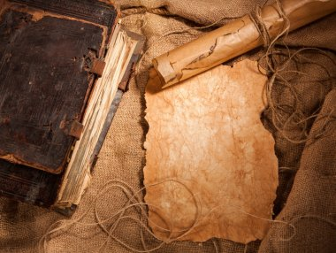 Antique book and papers