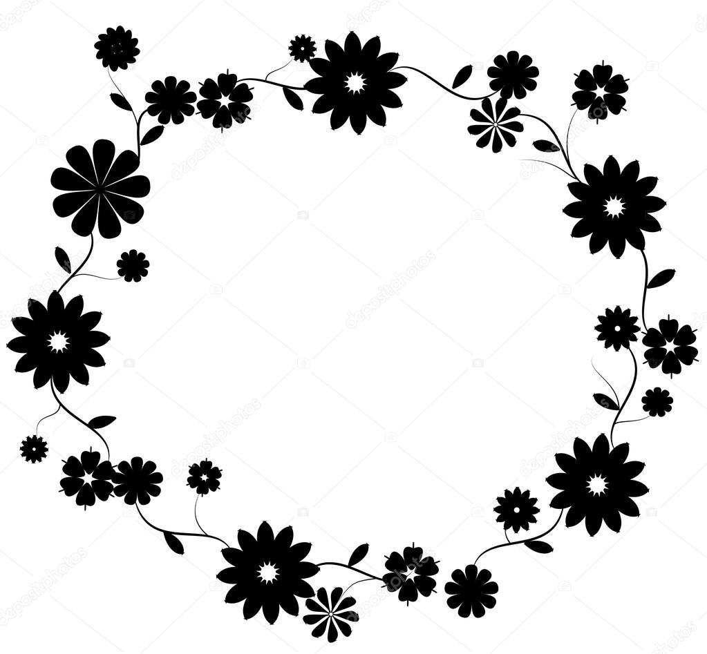 Decorative Black Flower Border Stock Image: Black Flower Border On White Background