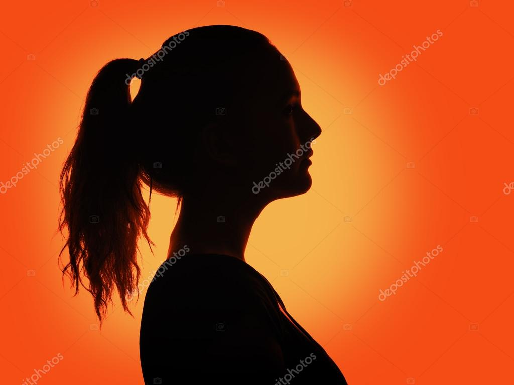 Vrouw portret profiel in silhouet schaduw u stockfoto