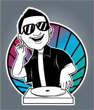 Illustration of man disc jockey