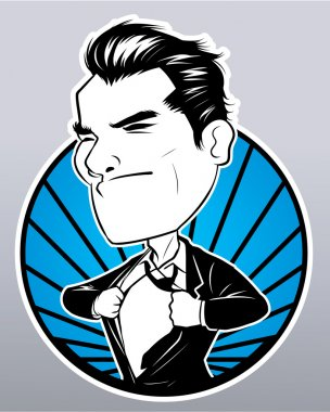 Illustration of hero businessman