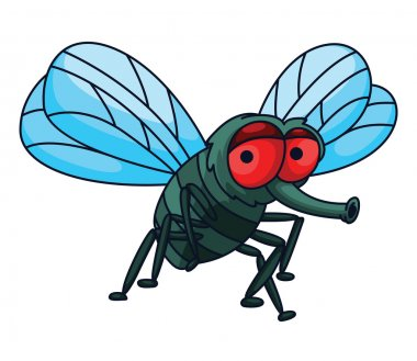 Fly Funny Cartoon Illustration